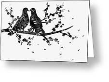Two Birds-black Greeting Card