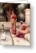 Two Classical Maidens And A Swan Henry Ryland Greeting Card