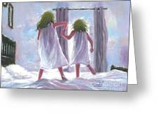 Two Sisters Jumping On The Bed  Greeting Card
