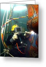 U.s. Navy Diver Welds A Repair Patch Greeting Card