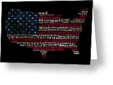 Usa Main Cities Flag Map Greeting Card by Cedric Darrigrand