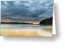 Vibrant Cloudy Sunrise Seascape Greeting Card