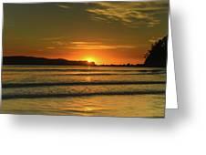Vibrant Orange Sunrise Seascape Greeting Card