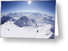 View From Summit Of Valluga, St Saint Anton Am Arlberg Austria Greeting Card