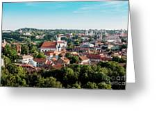 view of downtown in Vilnius city, Lithuanian Greeting Card