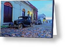 Vintage Cars In Colonia Del Sacramento, Uruguay Greeting Card