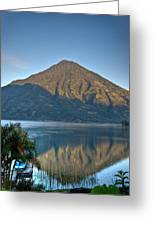 Volcano And Reflection Lake Atitlan Guatemala Greeting Card