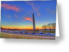 Washington Monument Sunset Greeting Card