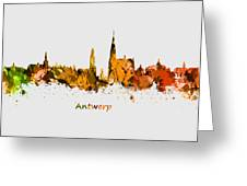 Watercolor Art Print Of The Skyline Of Antwerp In Belgium Greeting Card