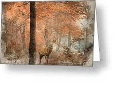 Watercolour Painting Of Beautiful Image Of Red Deer Stag In Fogg Greeting Card