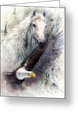 White Horse With A Flying Eagle Beautiful Painting Illustration Greeting Card