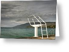 White Ladder Of A Diving Board At The Beach In Cres Greeting Card