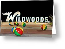 Wildwood's Sign At Night On The Boardwalk  Greeting Card