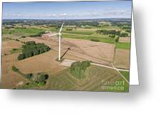 Wind Turbines In Suwalki. Poland. View From Above. Summer Time. Greeting Card