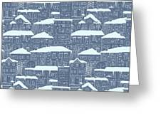 Winter Town Pattern  Greeting Card