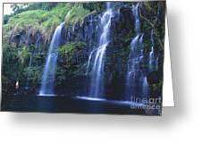 Woman At Waterfall Greeting Card