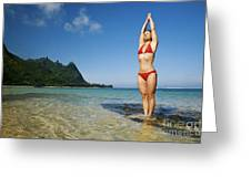 Woman Doing Yoga Greeting Card by Kicka Witte - Printscapes