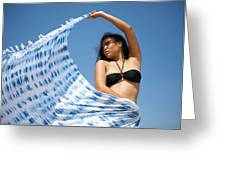 Woman In Sarong Greeting Card
