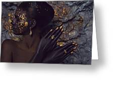 Woman In Splattered Golden Facial Paint Greeting Card