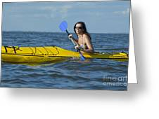 Woman Kayaking Greeting Card