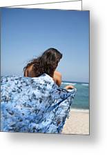 Woman On Beach Greeting Card