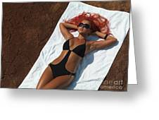 Woman Sunbathing Greeting Card