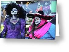 2 Women Day Of The Dead  Greeting Card