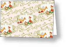Woodland Fairytale - Animals Deer Owl Fox Bunny N Mushrooms Greeting Card