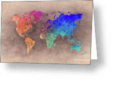 World Map Art  Greeting Card