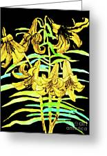 Yellow Lilies, Hand Drawn Painting Greeting Card