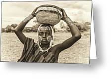 Young Boy From The African Tribe Mursi, Ethiopia Greeting Card