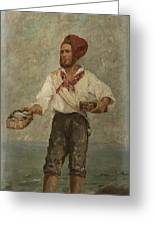 Young Fisherman In The Gulf With Capri At A Distance Greeting Card