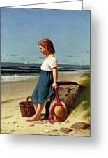 Young Girl At The Seashore Greeting Card