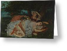Young Ladies On The Bank Of The Seine Greeting Card