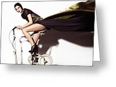 Young Woman In Long Dress On Exercise Bike Greeting Card