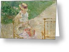 Young Woman Knitting Greeting Card
