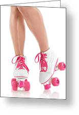 Young Woman Wearing Roller Derby Skates Greeting Card
