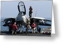 An F-14d Tomcat On The Flight Deck Greeting Card by Gert Kromhout