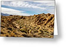 Rocks, Mountains And Sky At Alabama Hills, The Mobius Arch Loop  Greeting Card