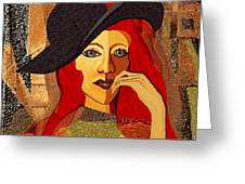 200 - Woman With Black Hat .... Greeting Card