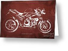 2011 Speed Triple Triumph Motorcycle Blueprint Red Background Artwork Christmas Gift For Men Greeting Card