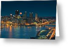 2011 Supermoon Over Pittsburgh Greeting Card