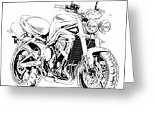 2011 Triumph Street Triple, Black And White Motorcycle Greeting Card