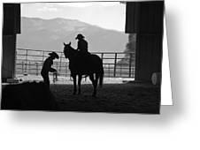 201208107-047k Cowgirls Preparing To Ride 2x3 Greeting Card