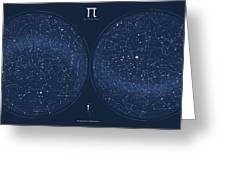 2017 Pi Day Star Chart Azimuthal Projection Greeting Card