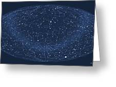 2017 Pi Day Star Chart Hammer/aitoff Projection Greeting Card