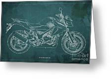 2018 Honda Cb300f Abs Blueprint Green Background Greeting Card
