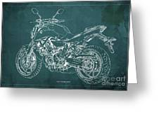 2018 Yamaha Mt07 Blueprint Green Background Fathers Day Gift Greeting Card