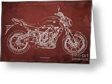 2018 Yamaha Mt07 Blueprint  Red Background Fathers Day Gift Greeting Card