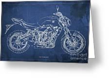 2018 Yamaha Mt07,blueprint,blue Background,fathers Day Gift Greeting Card